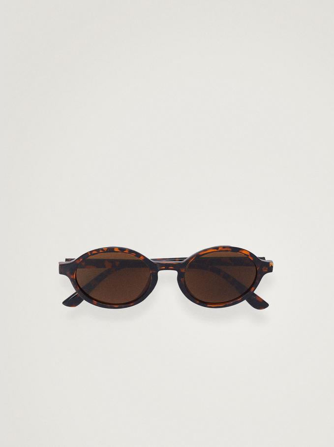 Sonnenbrille Mit Abgerundetem Gestell, Braun, hi-res