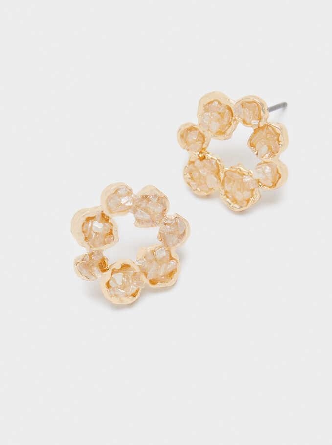Short Flower Earrings, Beige, hi-res