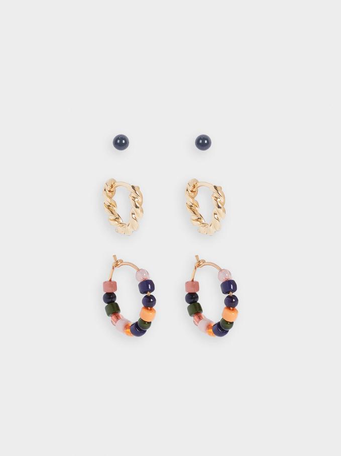 Set Of Hoop Earrings With Stones, Multicolor, hi-res