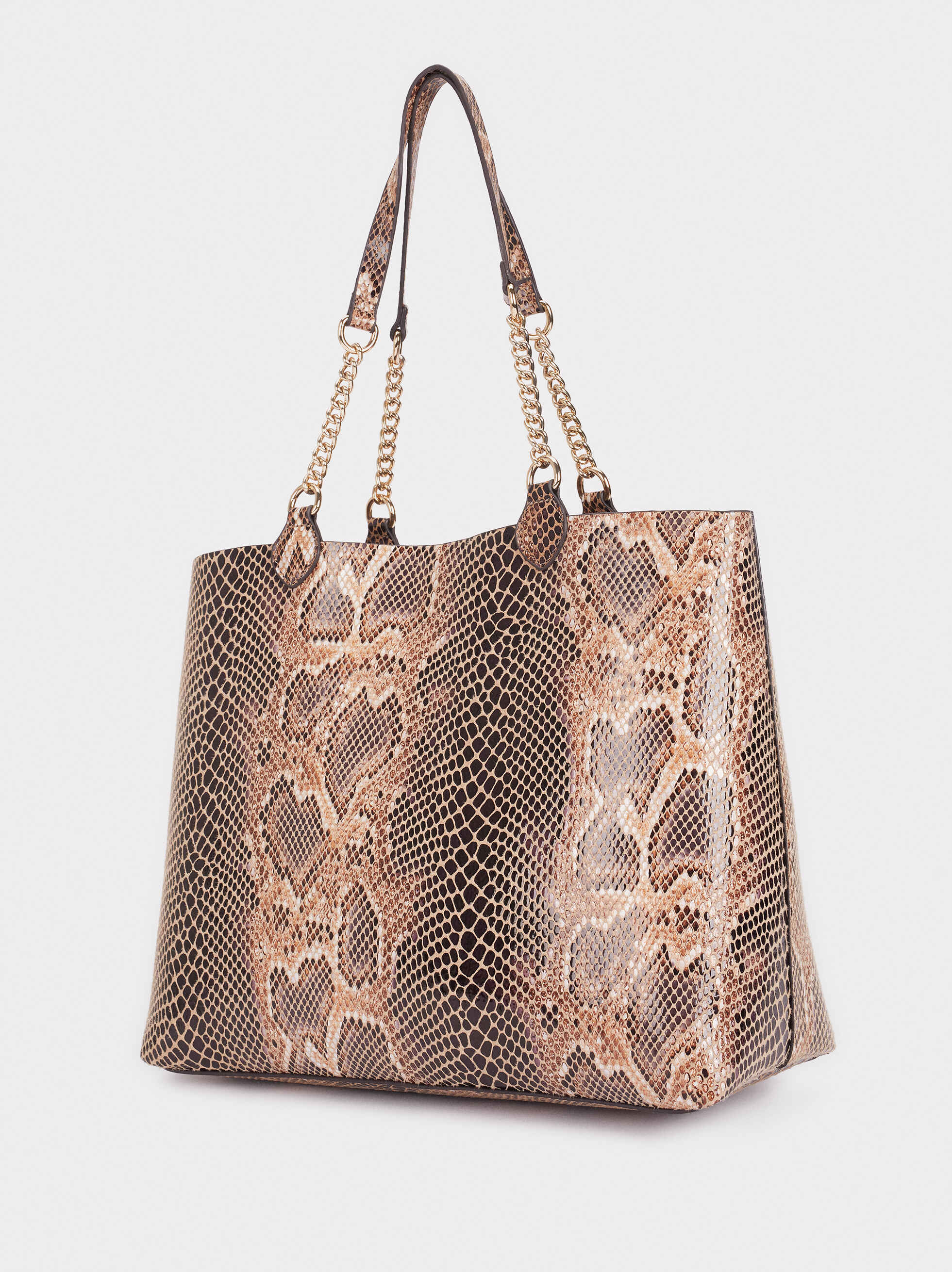 Embossed Animal Print Tote Bag, Beige, hi-res