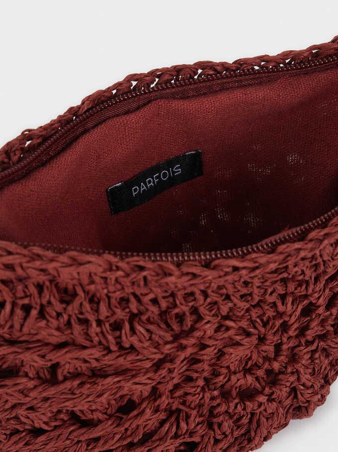 Raffia Textured Crossbody Bag, Brick Red, hi-res