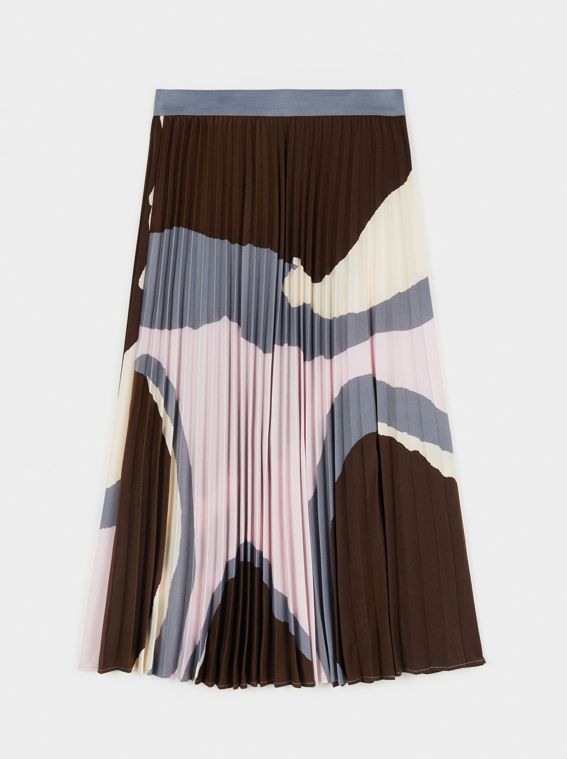 Printed Pleated Skirt, Grey, hi-res