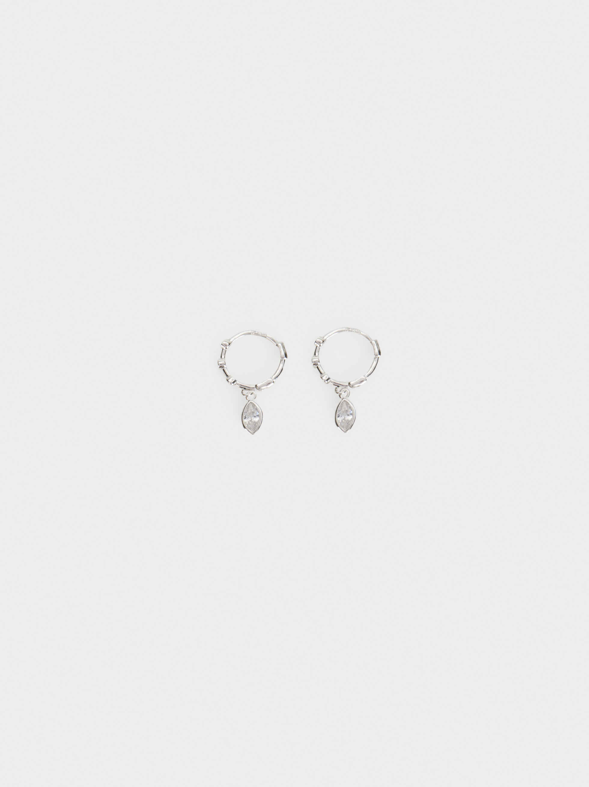 925 Silver Hoop Earrings With Pendant, Silver, hi-res