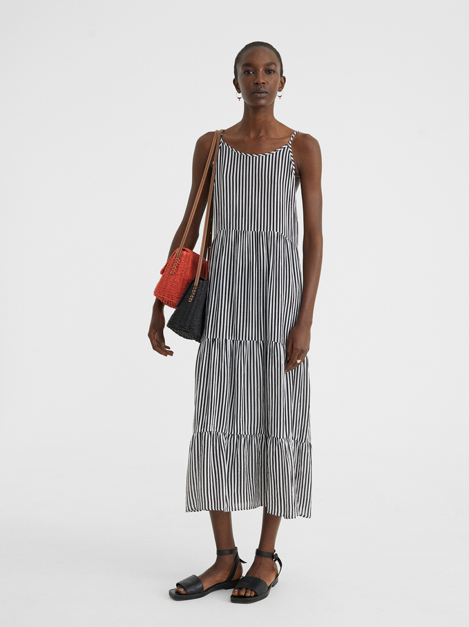Printed Dress With Straps, Black, hi-res