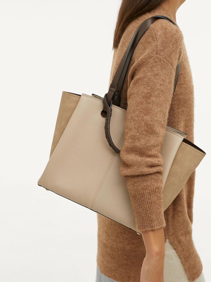 Shoulder Bag With Woven Strap, Pink, hi-res