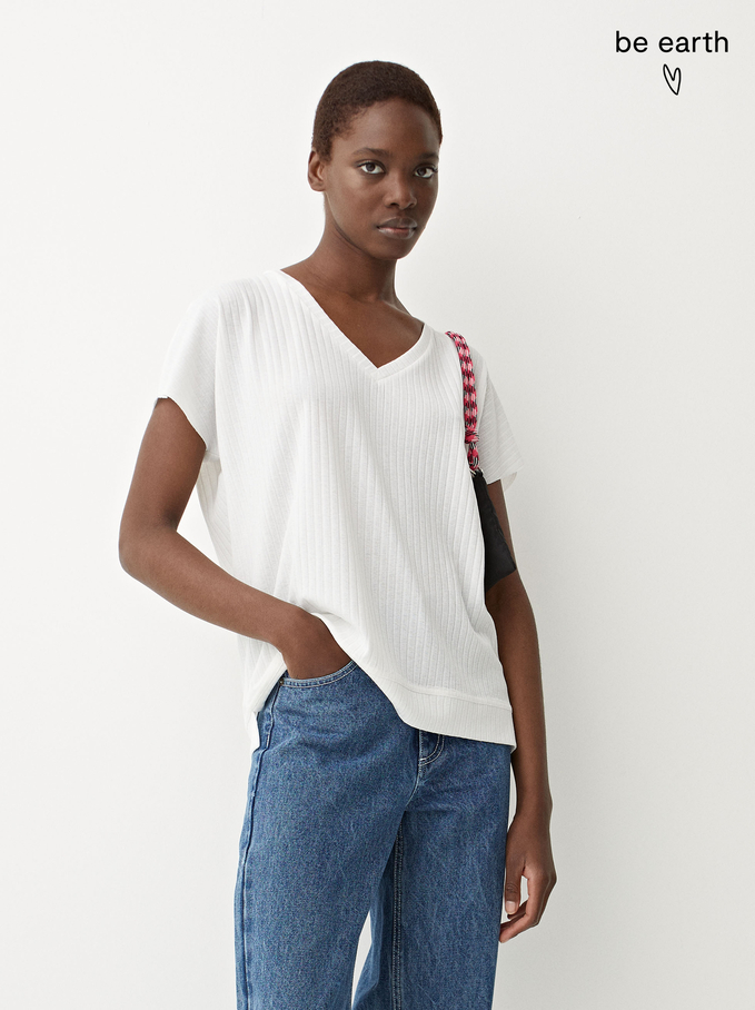 Camiseta Confeccionada Con Materiales Reciclados, Blanco, hi-res
