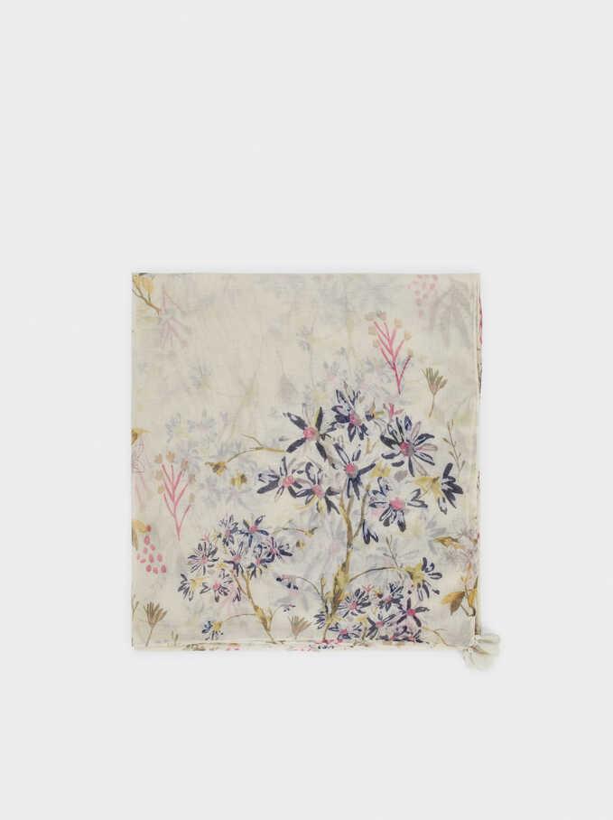 Pañuelo Estampado Floral, Beige, hi-res