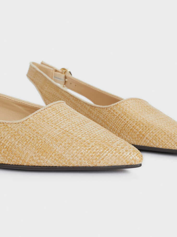 Flat Raffia Shoes, Beige, hi-res