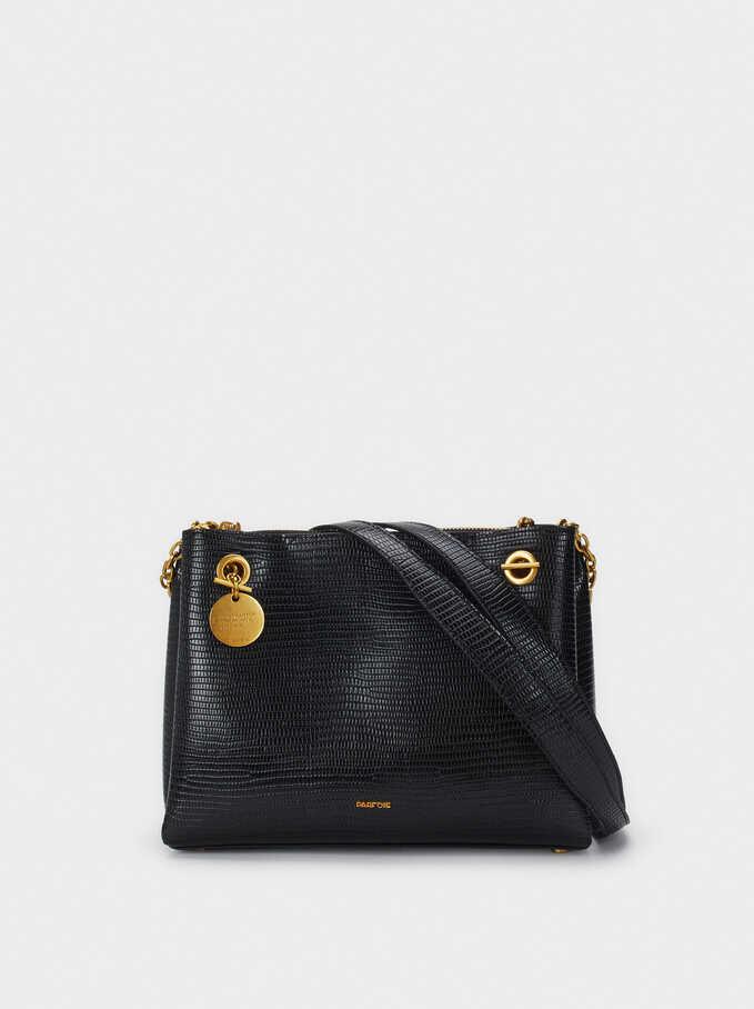 Animal Embossed Shoulder Bag, Black, hi-res