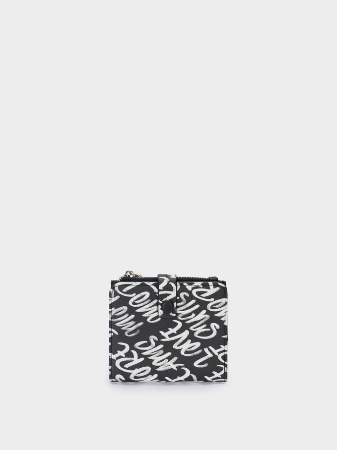 Portefeuille En Nylon Avec Imprimé, Noir, hi-res