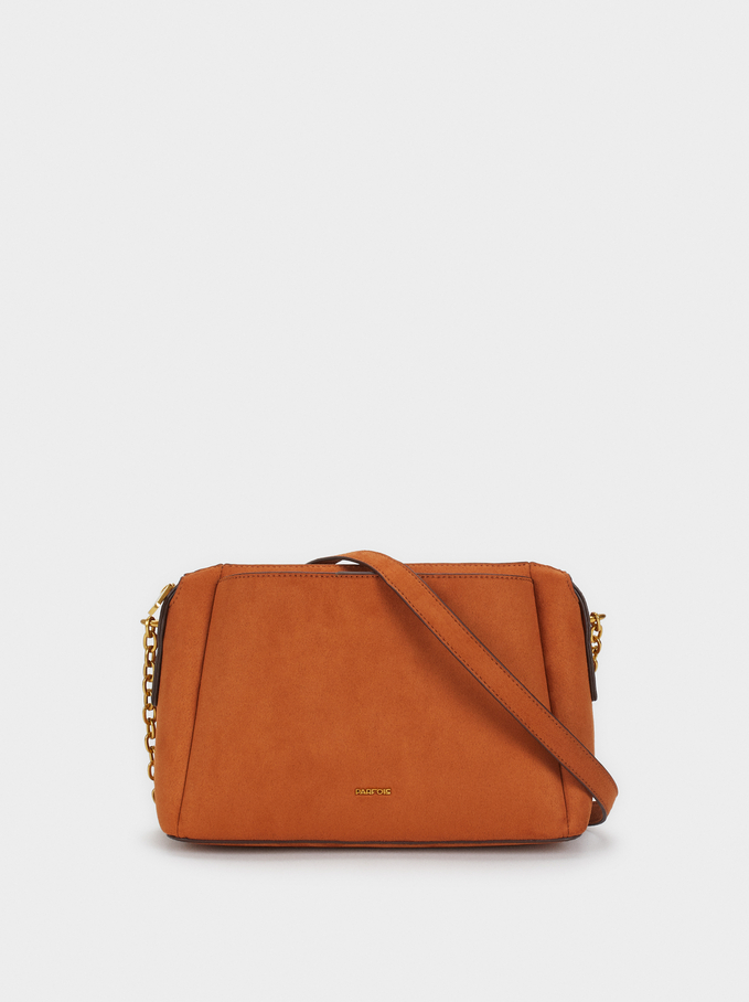 Suede Texture Shoulder Bag, Camel, hi-res