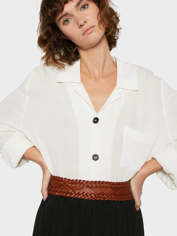 Leather Belt, Brown, hi-res