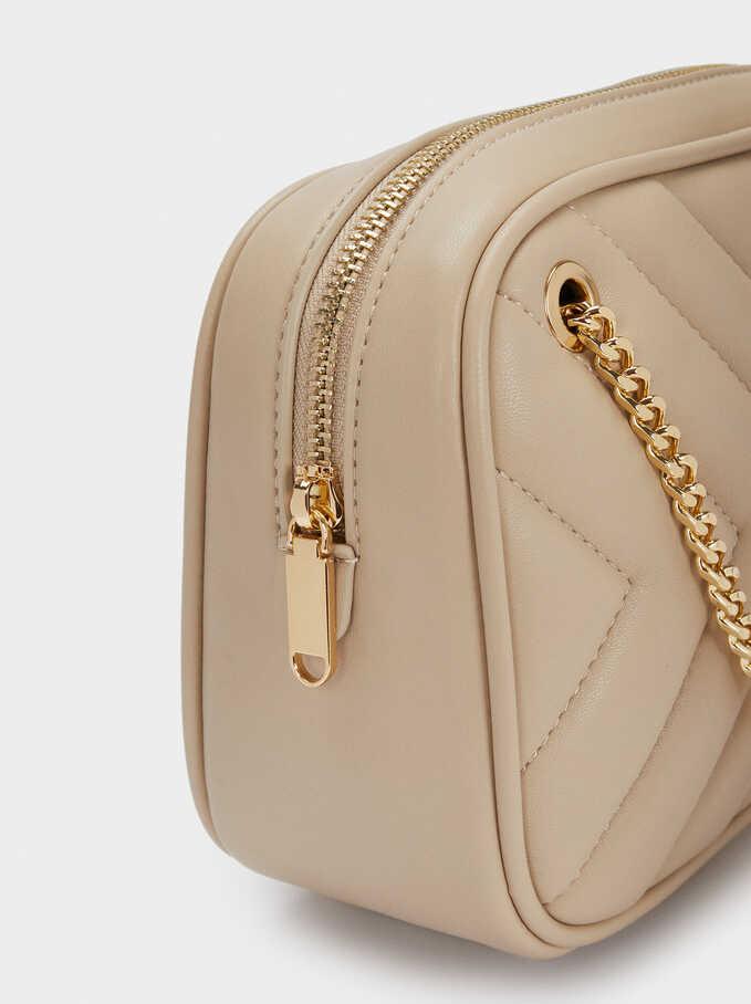 Quilted Shoulder Bag With Contrast Strap, Beige, hi-res