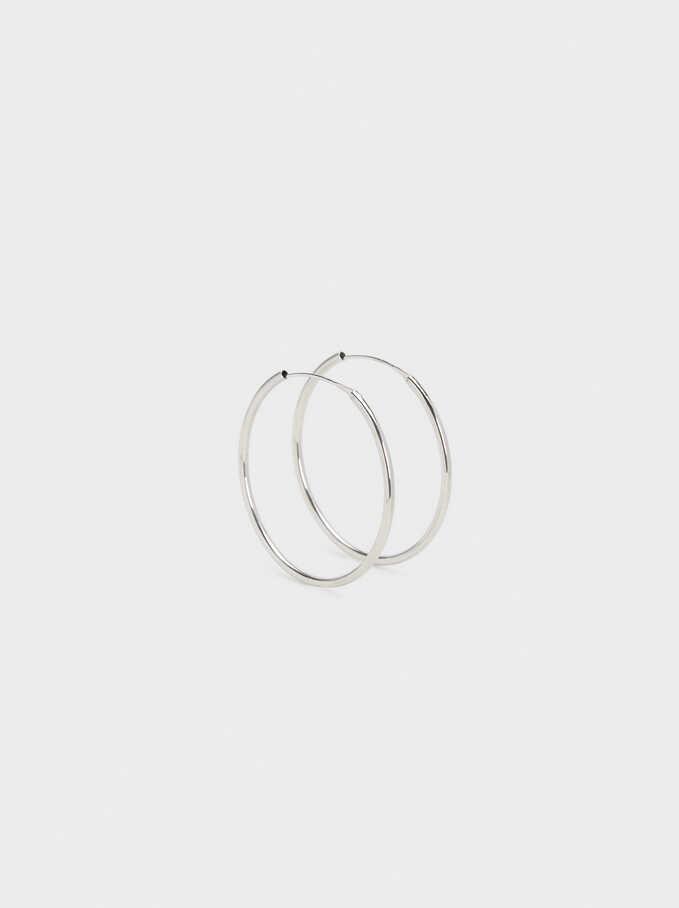 Short 925 Silver Hoop Earrings, Silver, hi-res