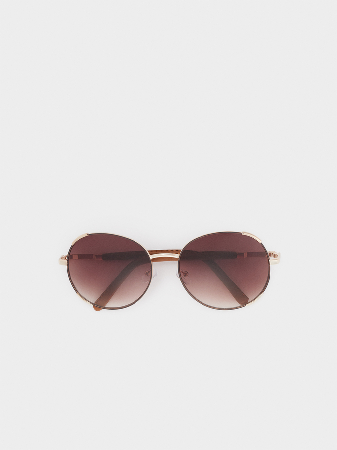 Round Metallic Sunglasses , Brown, hi-res
