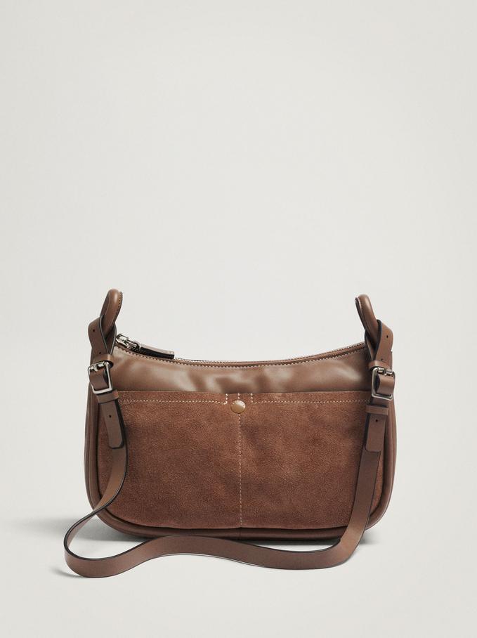 Contrast Suede Crossbody Bag, Brown, hi-res
