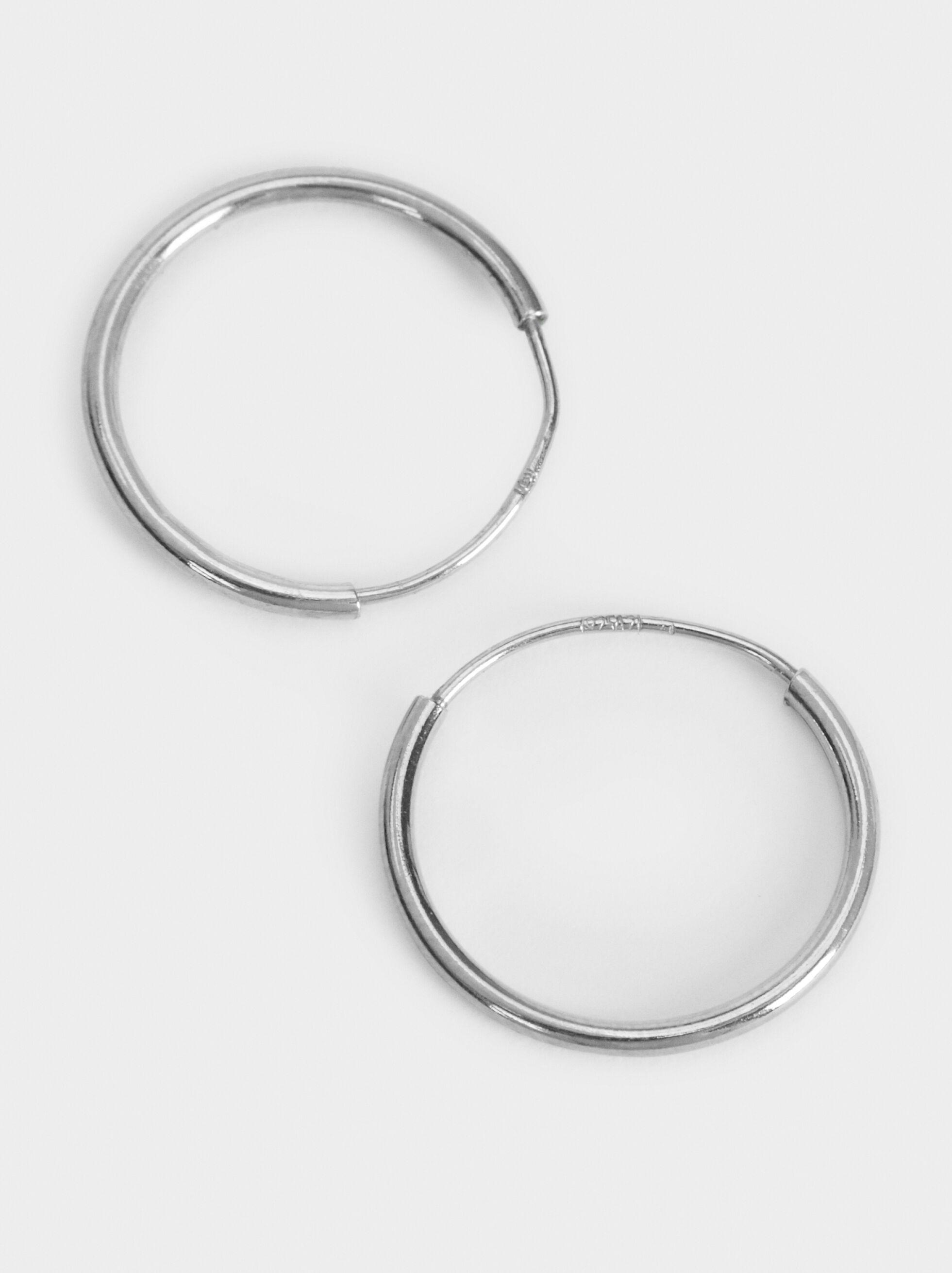 Small 925 Silver Hoop Earrings, Silver, hi-res