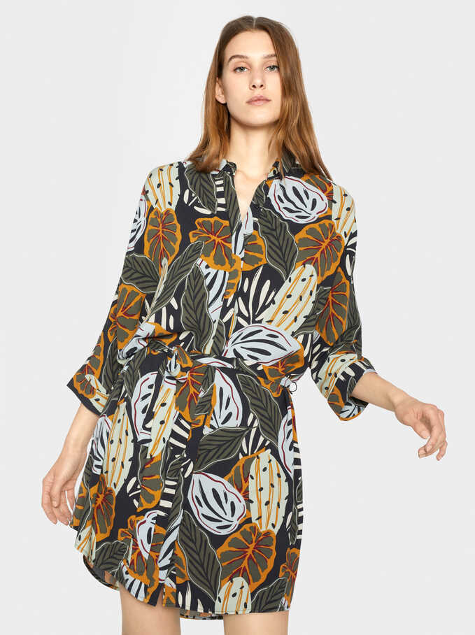 Floral Print Shirt Dress, Multicolor, hi-res