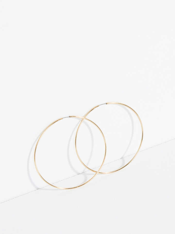 Basic Large Hoop-Earrings, Golden, hi-res