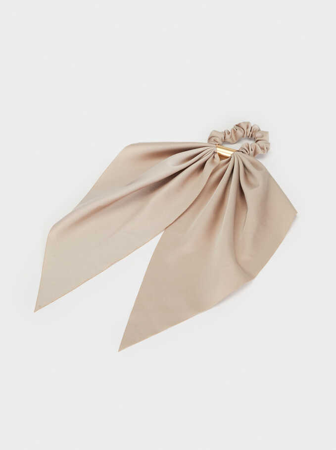 Plain Scrunchie With Metal Detail, Beige, hi-res