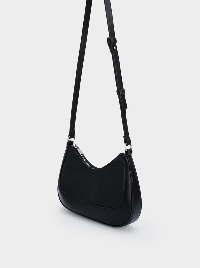 Shoulder Bag With Strap, Black, hi-res