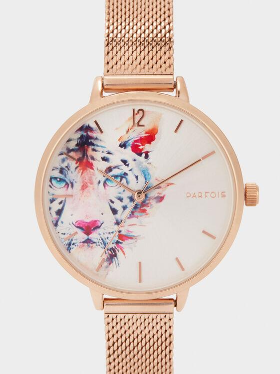 Watch With Tiger Design, Orange, hi-res