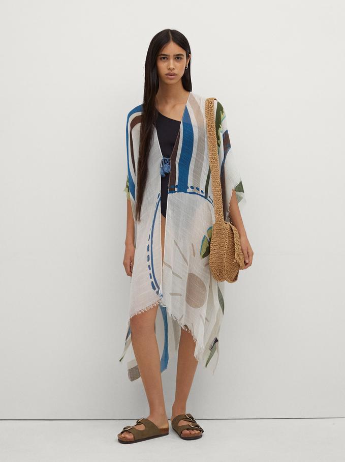 Printed Long Kimono , Brown, hi-res