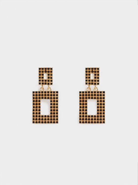 Medium Blog Earrings Rhinestones, Multicolor, hi-res