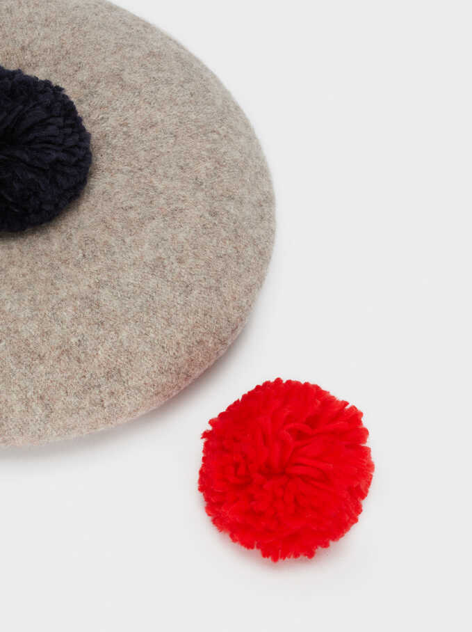 Wool Beret With Pompom, Beige, hi-res