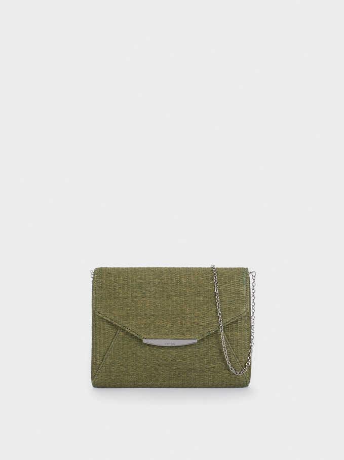 Textured Raffia Handbag, Khaki, hi-res