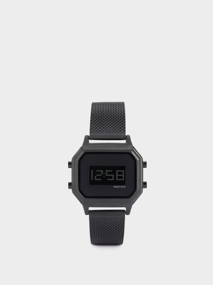 Square Case Digital Watch, Black, hi-res