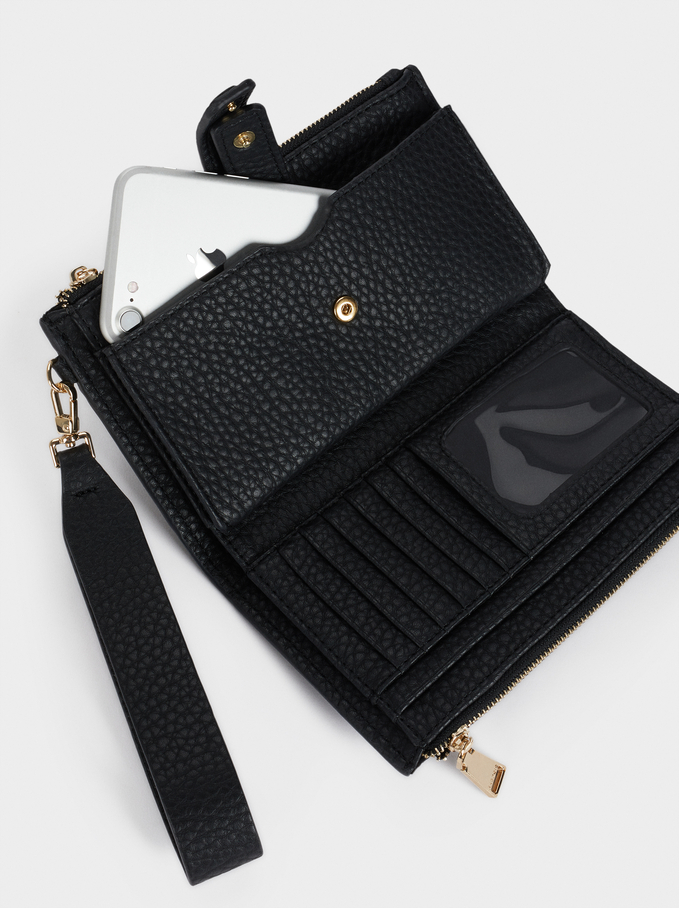 Wallet With Detachable Hand Strap, Black, hi-res