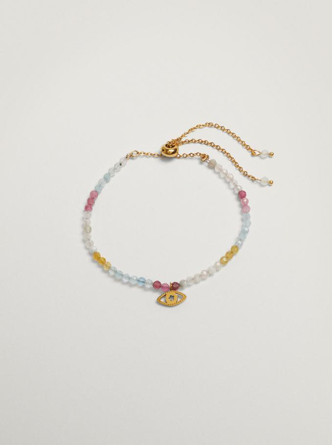 Bracelet En Acier Avec Pierres Et Œil, Multicolore, hi-res
