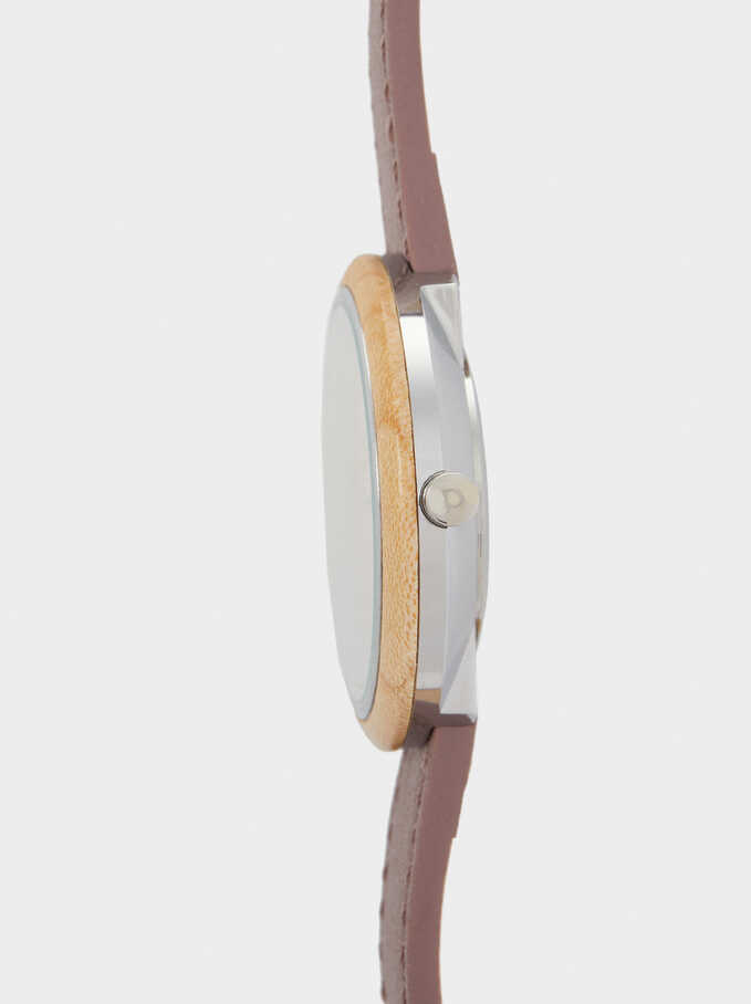Watch With Faux Wooden Face, Violet, hi-res