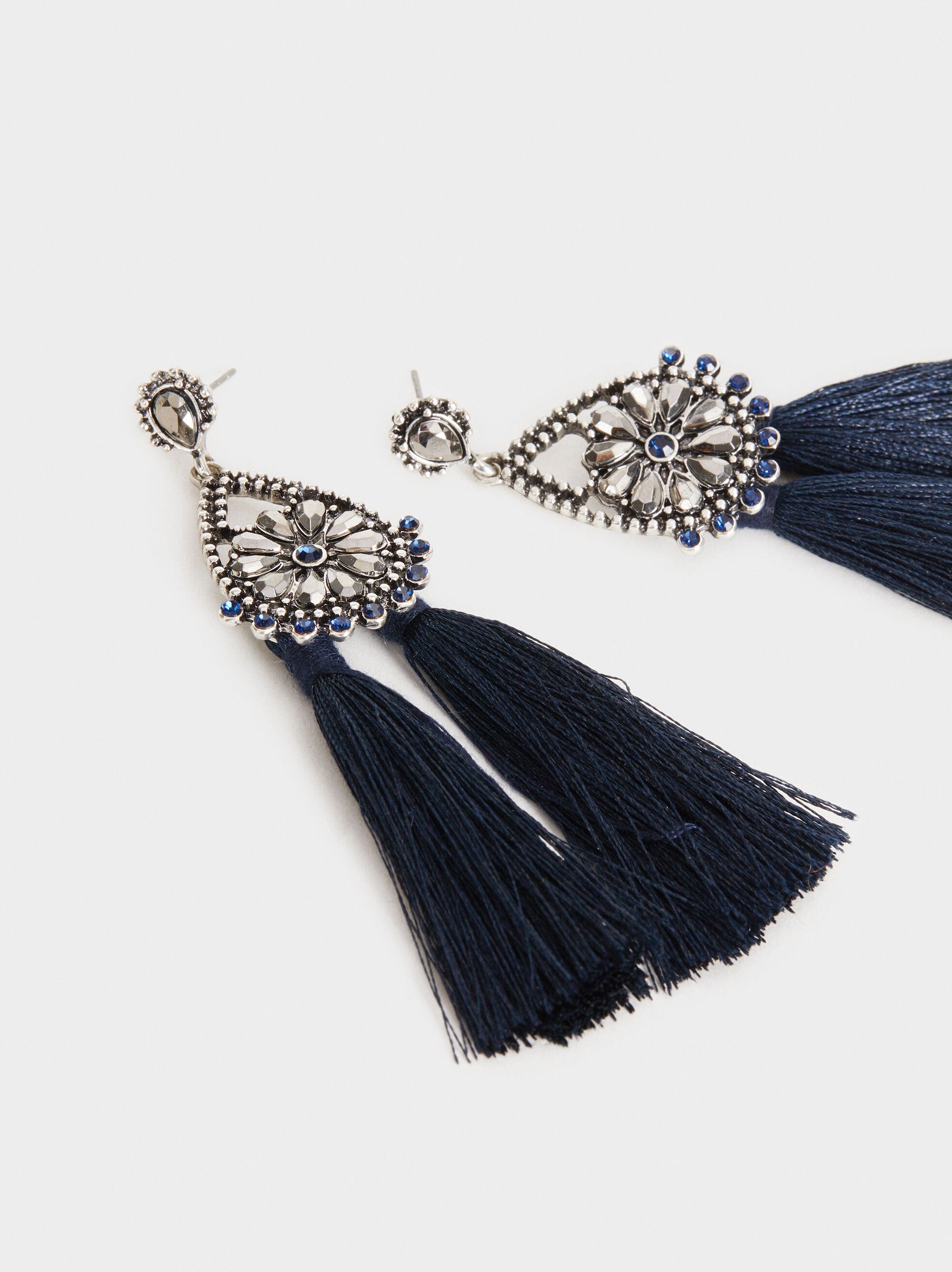 Party Long Earrings With Fringing, Blue, hi-res