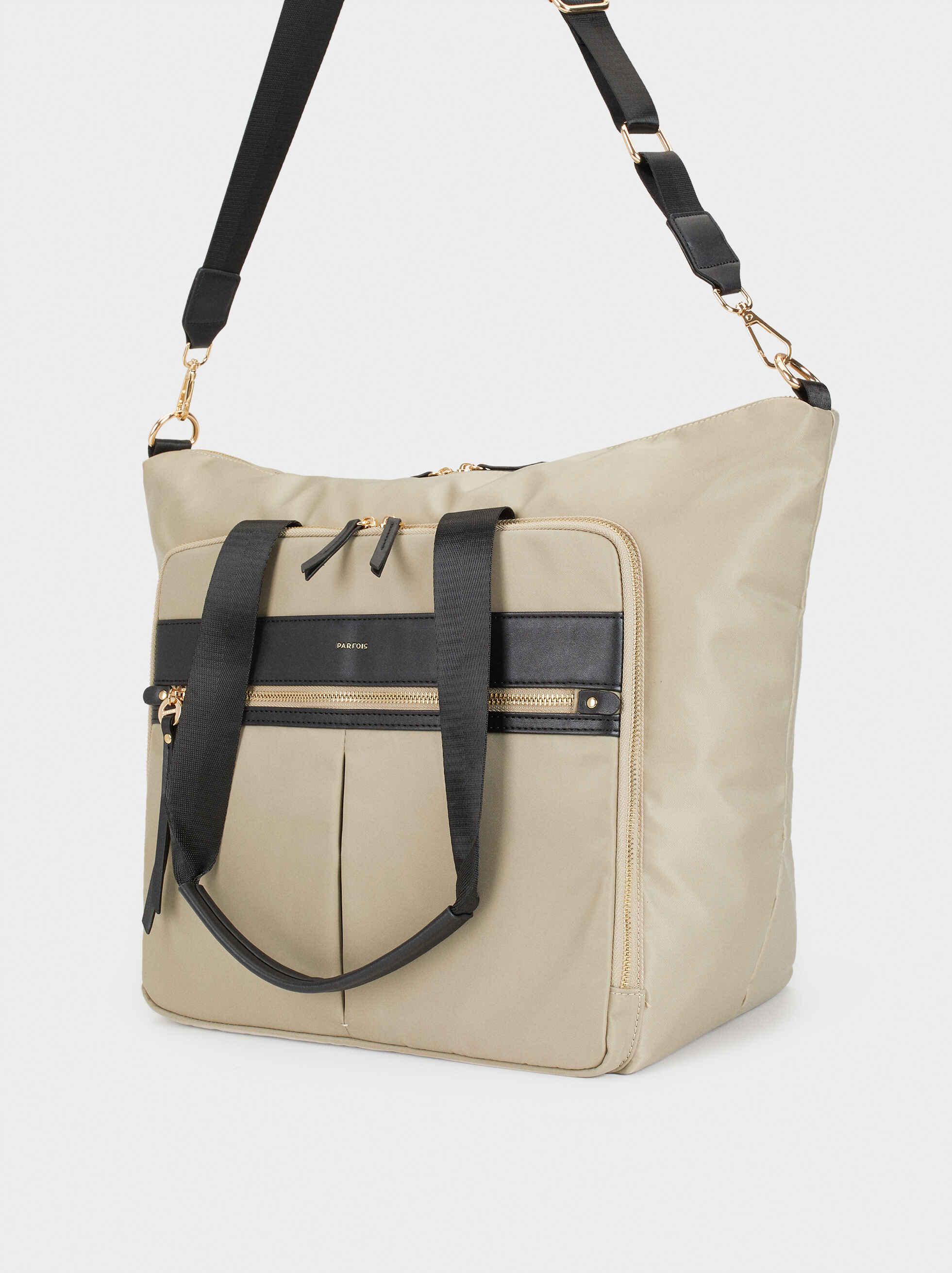 Nylon Weekend Bag, Beige, hi-res