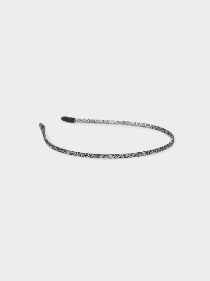 Thin Braided Headband, Black, hi-res