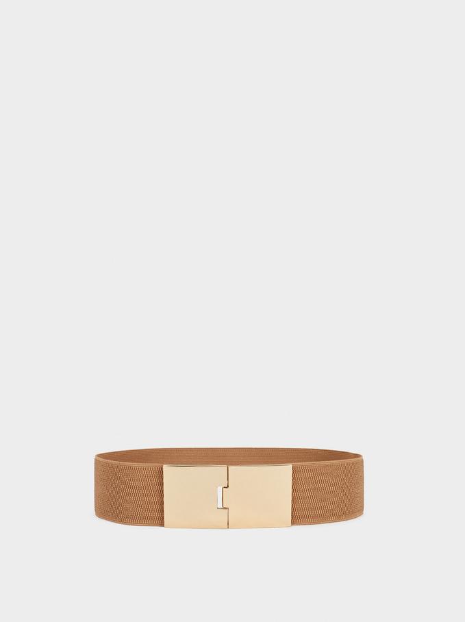 Stretch Belt With Golden Buckle, Beige, hi-res