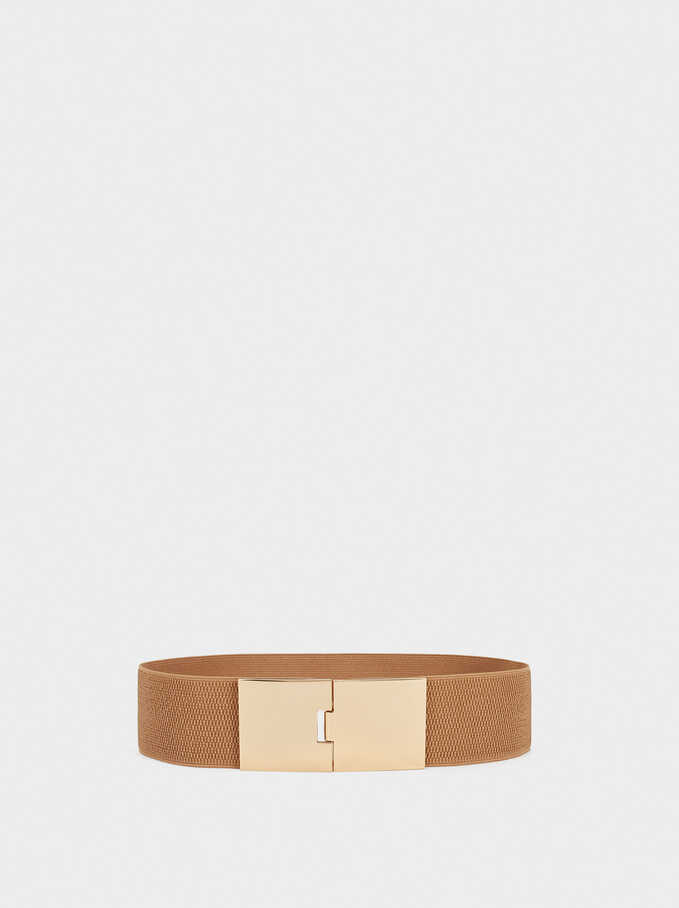 Stretch Belt With Golden Buckle, Beige, hi-res