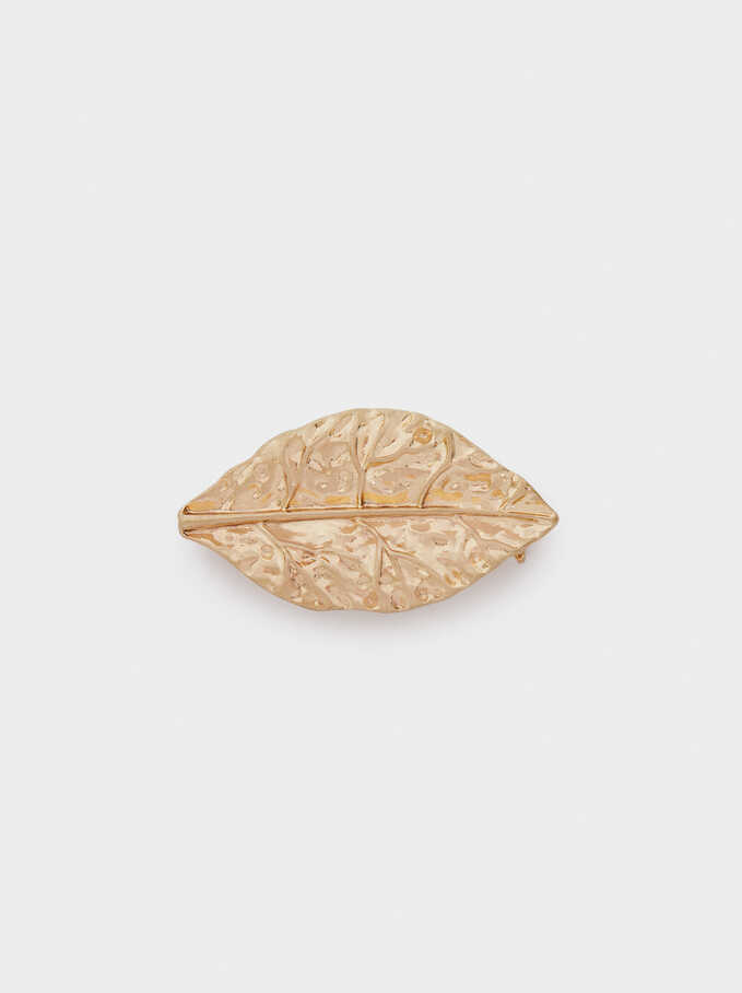 Gold Leaf Brooch, Golden, hi-res