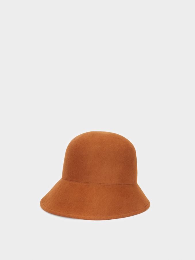 Chapéu Cloché Em Lã, Camel, hi-res