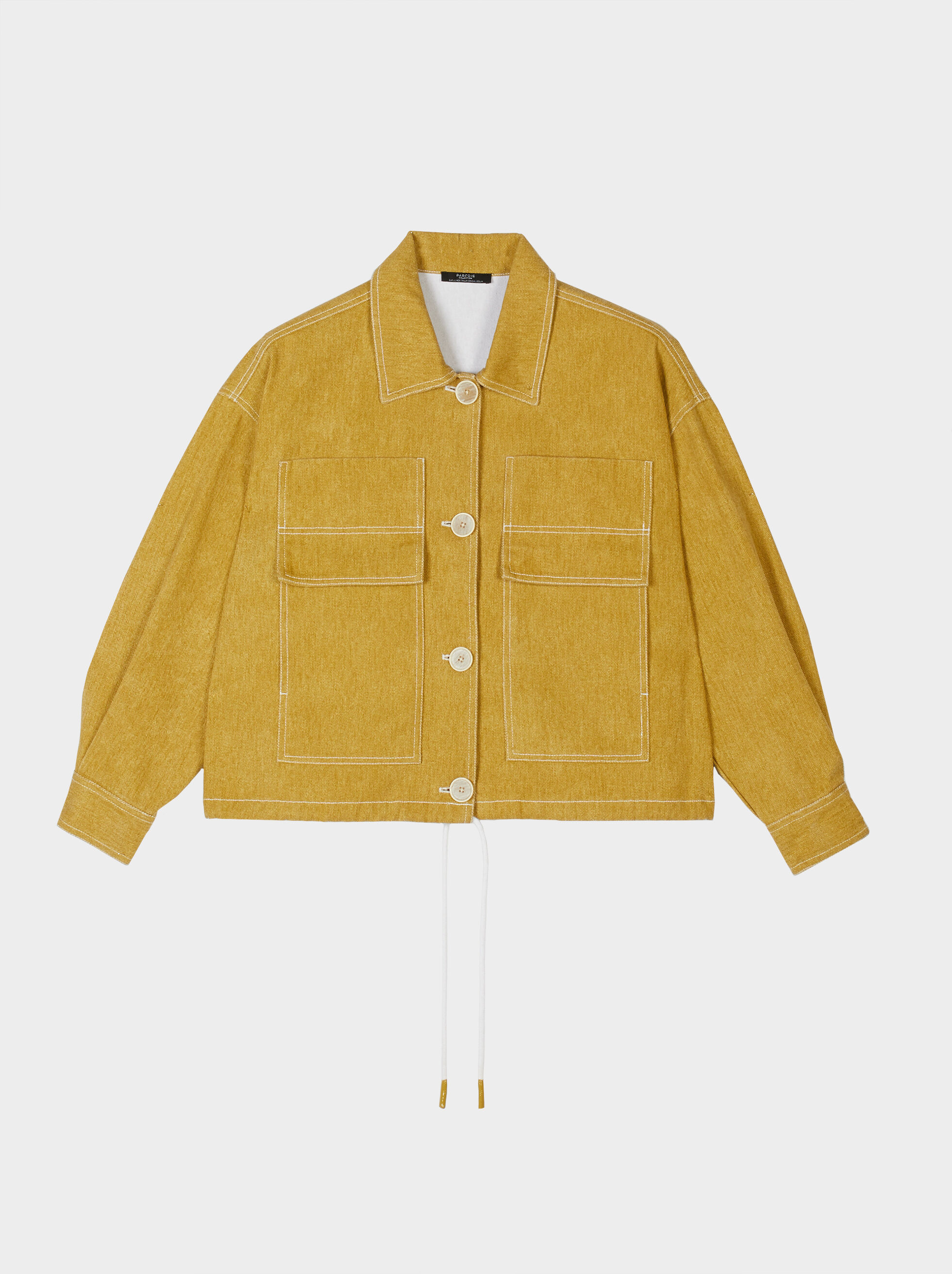 Short Denim Jacket, Yellow, hi-res
