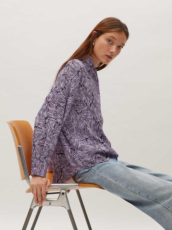 Camisa Fluida Estampada, Violeta, hi-res