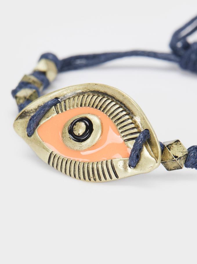 Multicoloured Adjustable Bracelet With Eye Charm, Multicolor, hi-res