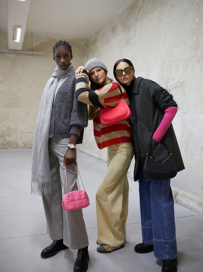 Nylon Coat With Pockets, Brown, hi-res