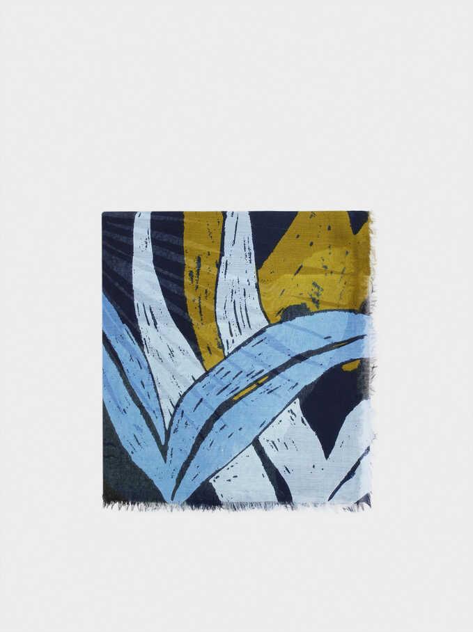 Foulard Imprimé, Bleu Foncé, hi-res