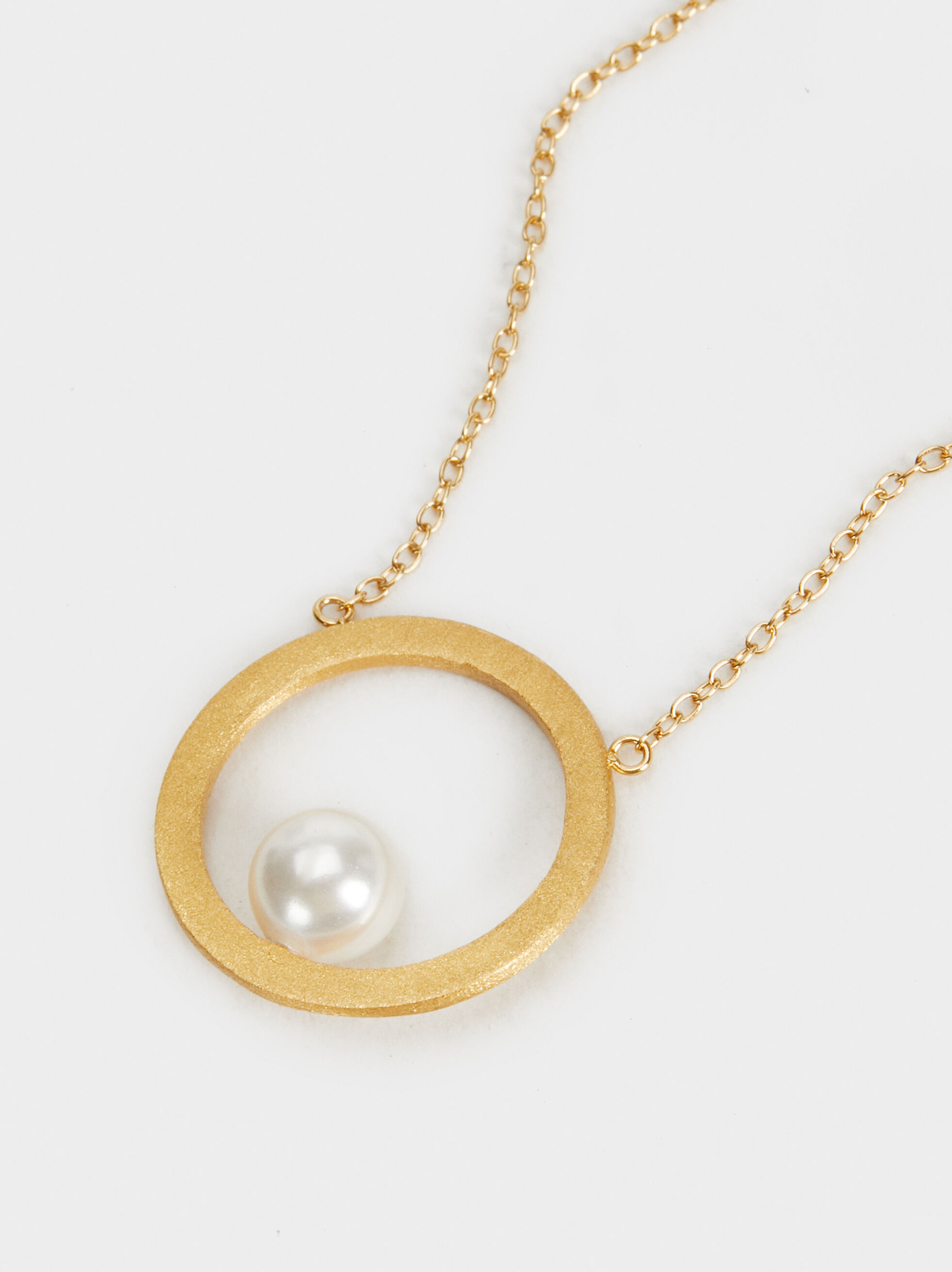 Silver 925 Necklace With Faux Pearls, Beige, hi-res