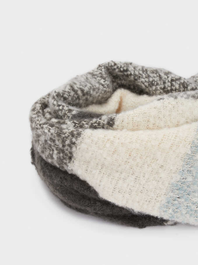 Large Scarf With Check Print, Grey, hi-res