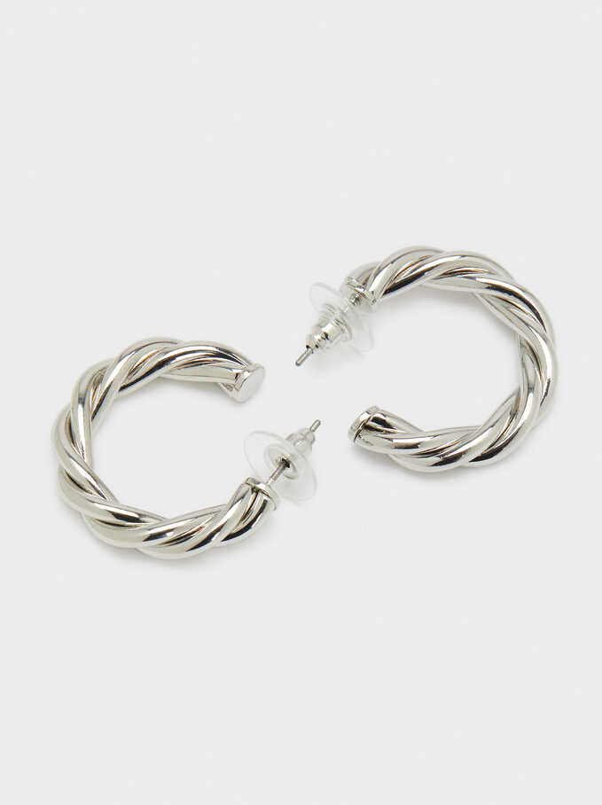 Small Woven Detail Hoop Earrings, Silver, hi-res