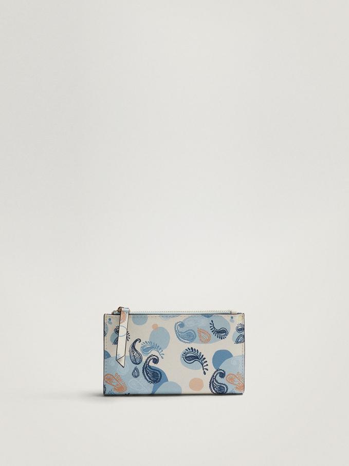 Paisley Print Wallet, Blue, hi-res